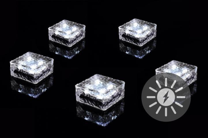 Sada 5 ks solárního osvětlení – skleněná kostka – bílá