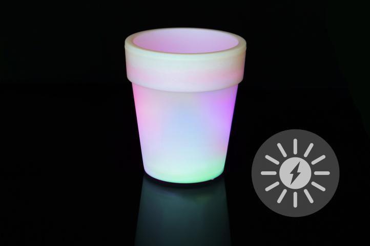 Nexos 55818 LED solární květináč bílý 3 LED měnící barvy 19x17 cm