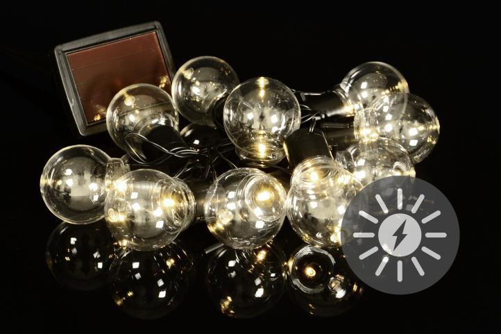 LED solární světelný řetěz s 10 žárovkami