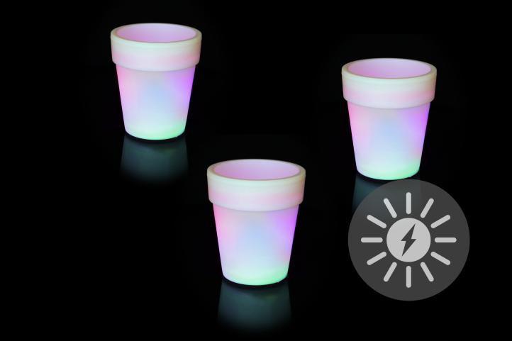 Solární osvětlení - květináč se změnou barev - 3 kusy