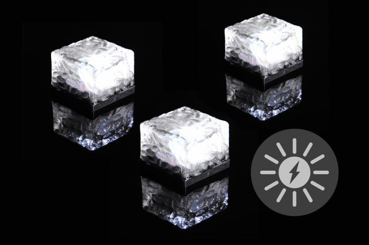 Sada solárního osvětlení skleněná cihla LED bílá, 3 ks