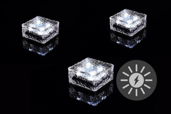 Sada 3 ks solárního osvětlení – skleněná kostka – bílá