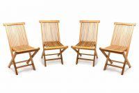 Divero Sada 4 kusů - zahradní skládací židle - týkové dřevo