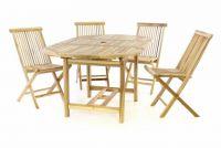 DIVERO 5-dílná sestava zahradního nábytku z teakového dřeva