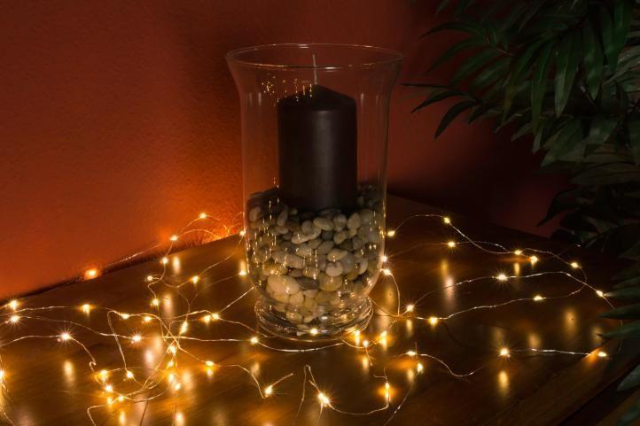 Vánoční dekorativní osvětlení – drátky - 100 LED teple bílé
