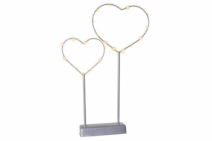 Vánoční LED dekorace - kovové srdce - 25 LED šedá