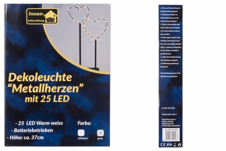 Vánoční LED dekorace - kovová srdce, 25 LED, šedá