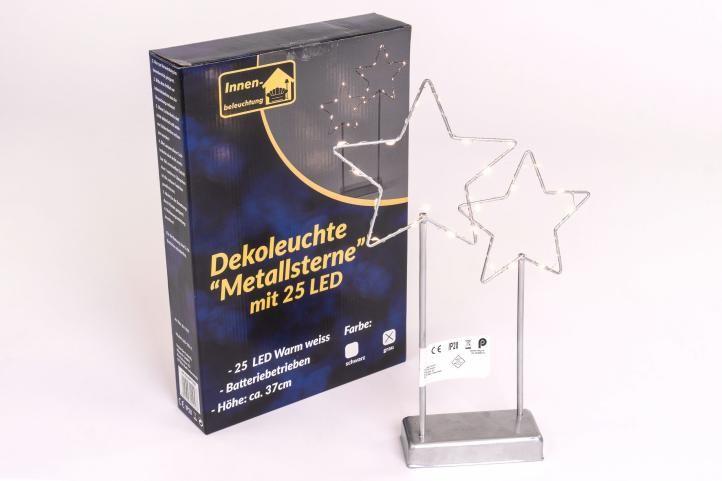 Vánoční LED dekorace - kovové hvězdy, 25 LED, šedé