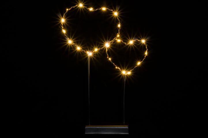 Vánoční LED dekorace – kovové srdce – 25 LED černá