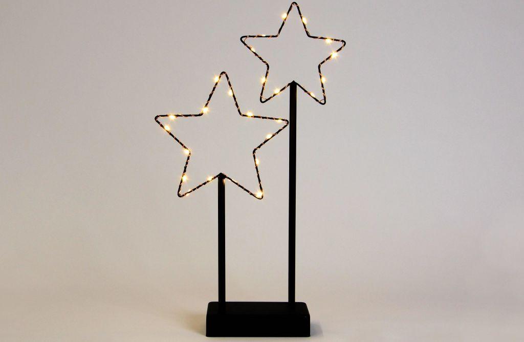 Vánoční LED dekorace - kovové hvězdy- 25 LED černá Nexos D57391