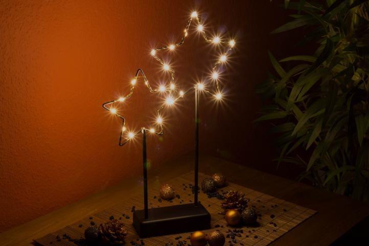 Vánoční LED dekorace - kovové hvězdy- 25 LED černá