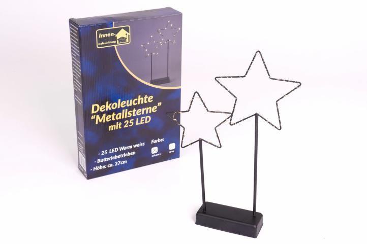 Vánoční LED dekorace - kovové hvězdy, 25 LED, černé