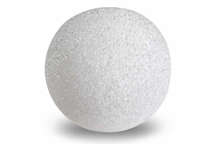 Světelná dekorace - LED svítící koule, 12 cm, teple bílá