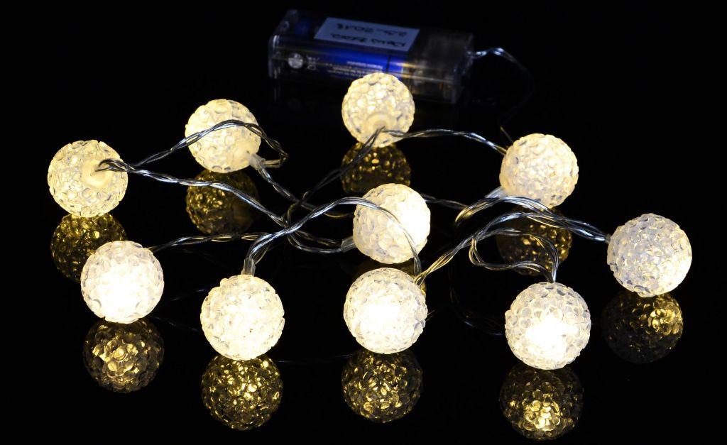 Nexos Vánoční dekorativní řetěz - světelné koule - 10 LED teple bílá