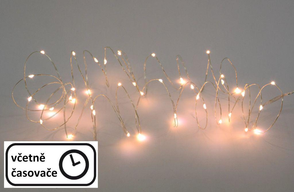 Vánoční LED stříbrný drát - 60 LED, teple bílý