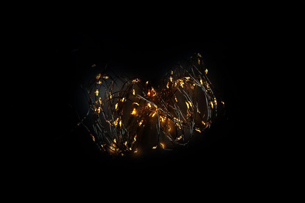 Vánoční LED stříbrný drát – 80 LED, teple bílý