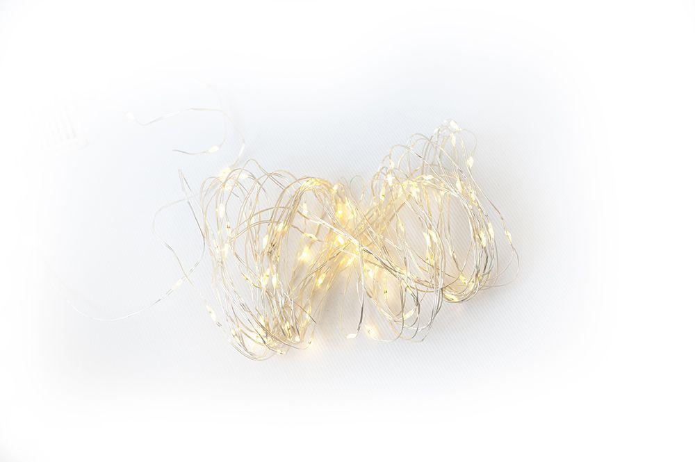LED osvětlení - stříbrný drát - 80 LED teple bílá