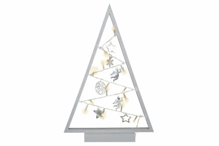 Světelná dekorace šedá - Vánoce - 15 LED teple bílá