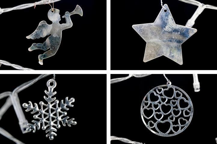 Světelná dekorace šedá – Vánoce – 15 LED teple bílá