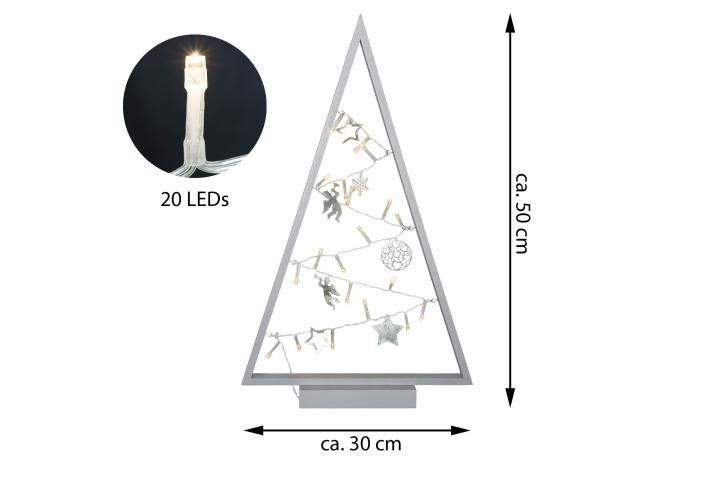 Šedá světelná vánoční dekorace - 20 LED, teple bílá