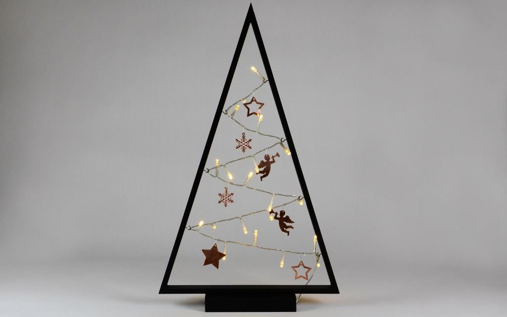 Světelná dekorace černá - Vánoce - 15 LED teple bílá