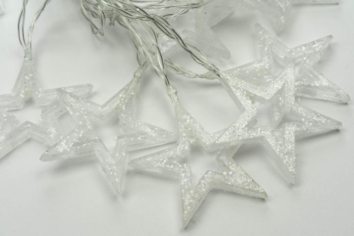 Vánoční osvětlení - třpytivé hvězdy, 10 LED, teple bílé