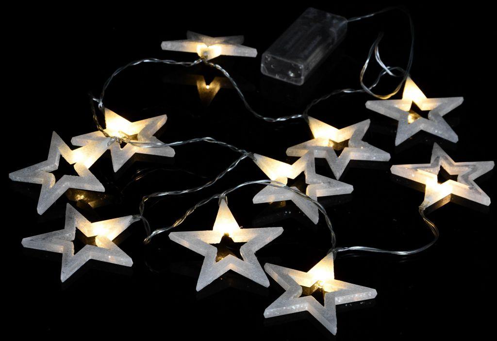 Vánoční osvětlení – třpytivé hvězdy, 20 LED, teple bílé