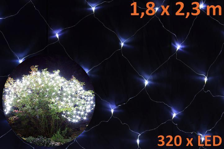 Vánoční LED světelná síť 1,8 x 2,3 m - studená bílá, 320 diod