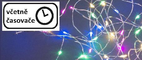 Vánoční LED stříbrný drát - 40 LED, barevný