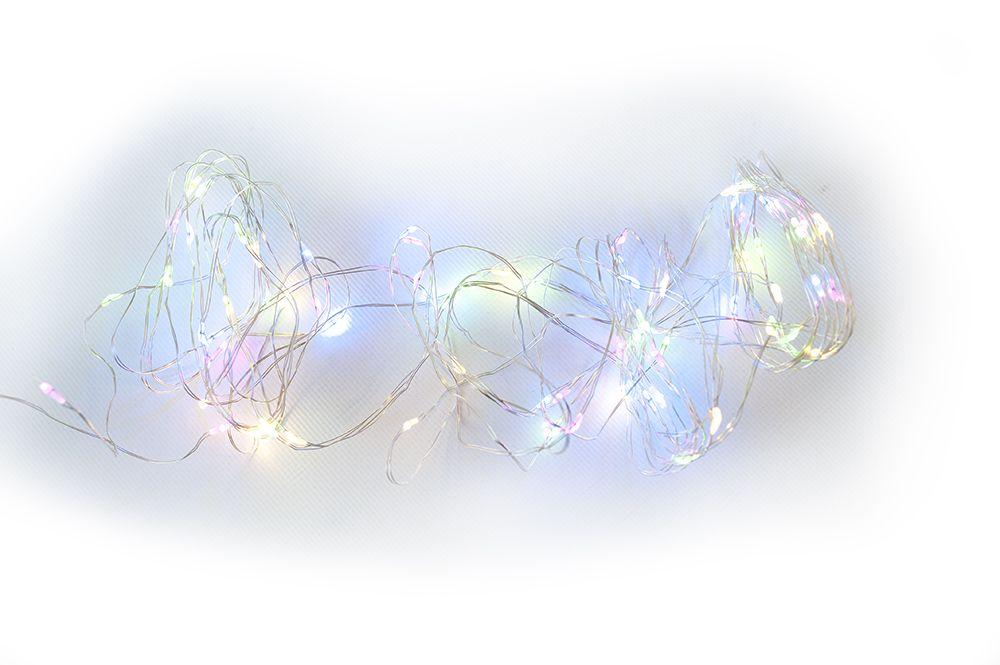 LED osvětlení - stříbrný drát - 60 LED barevné