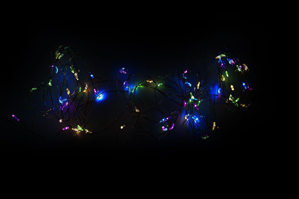Vánoční LED stříbrný drát - 80 LED, barevný