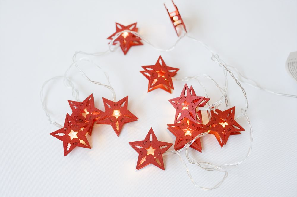 HOLZ Vánoční dekorativní řetěz - červené hvězdy, 10 LED