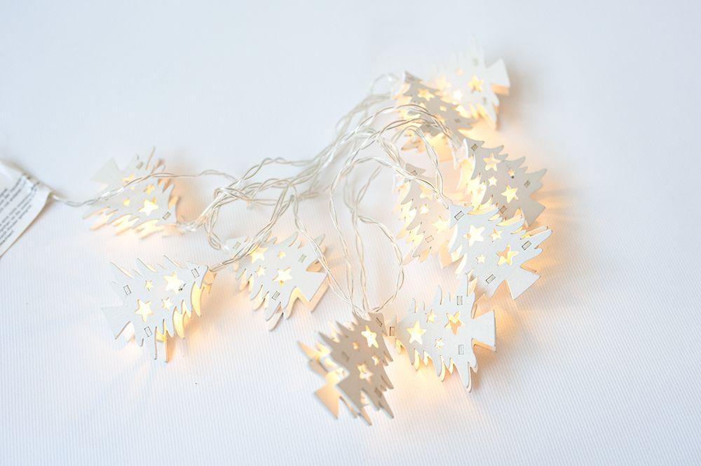 Vánoční dekorativní řetěz HOLZ - bílý stromek - 10 LED