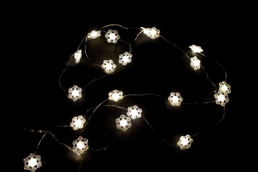 Vánoční dekorativní řetěz - sněhová vločka - 20 LED teple bílá