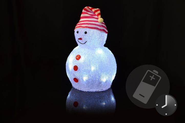 Vánoční dekorace - Akrylový sněhulák - studeně bílá