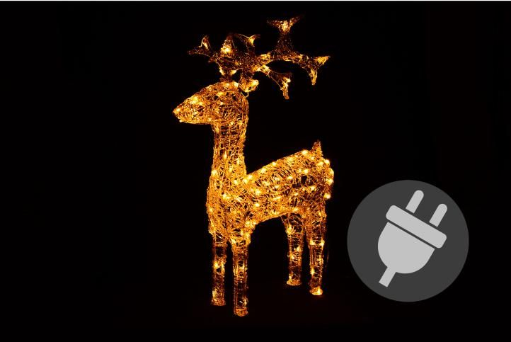 Světelná dekorace vánoční sob - 100 cm, teple bílý