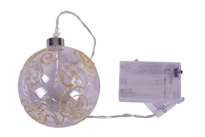 Vánoční dekorace - LED vánoční koule - teplá bílá