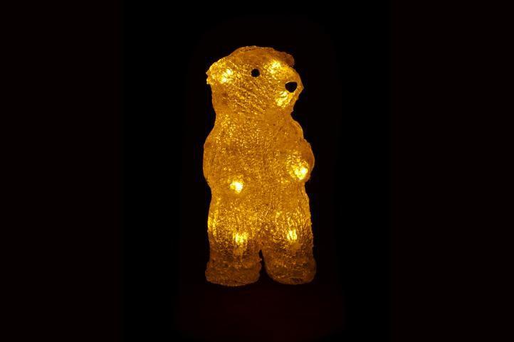 Vánoční dekorace - Stojící medvěd - 19cm teplá bílá