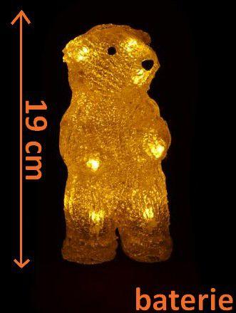 Vánoční dekorace - Stojící medvěd - 19cm teplá bílá + RYCHLÉ DODÁNÍ