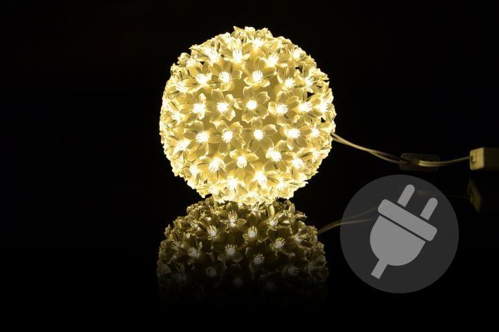 Vánoční dekorace – LED světelná koule, teple bílá
