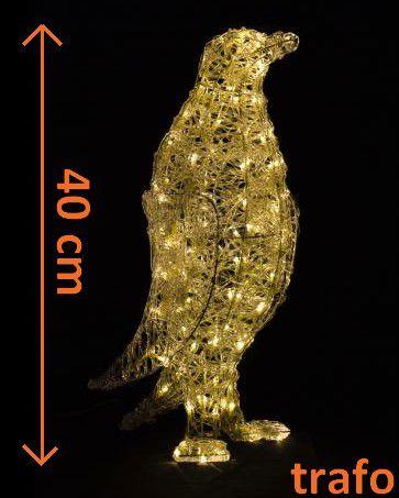 Vánoční dekorace - Akrylový tučňák - teple bílá 41 cm