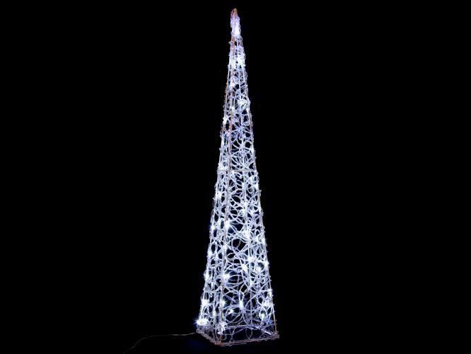 Vánoční akrylový jehlan 90 cm - studeně bílý, do zásuvky