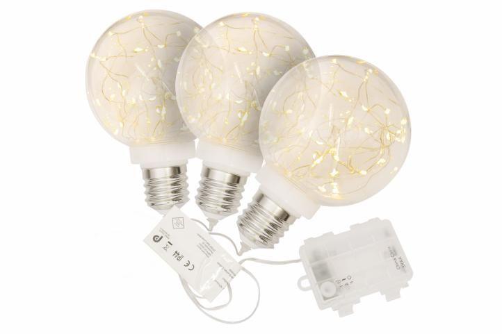 Vánoční dekorace žárovka, sada 3 ks, 30 LED, teple bílá