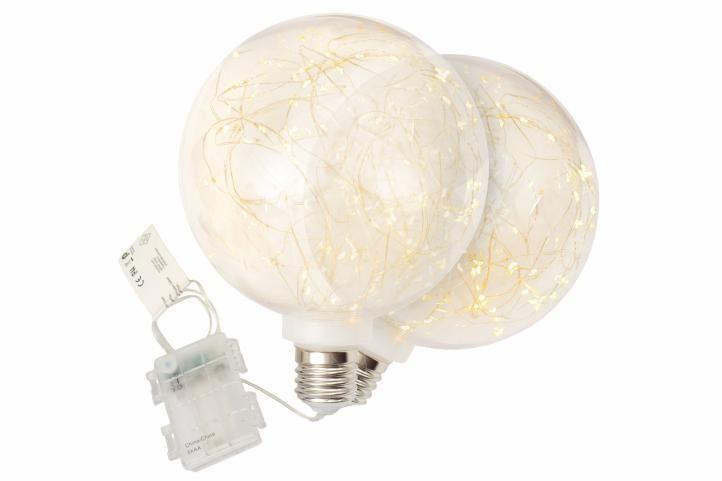 Vánoční dekorace žárovka, sada 2 kusů, 80 LED, teple bílá
