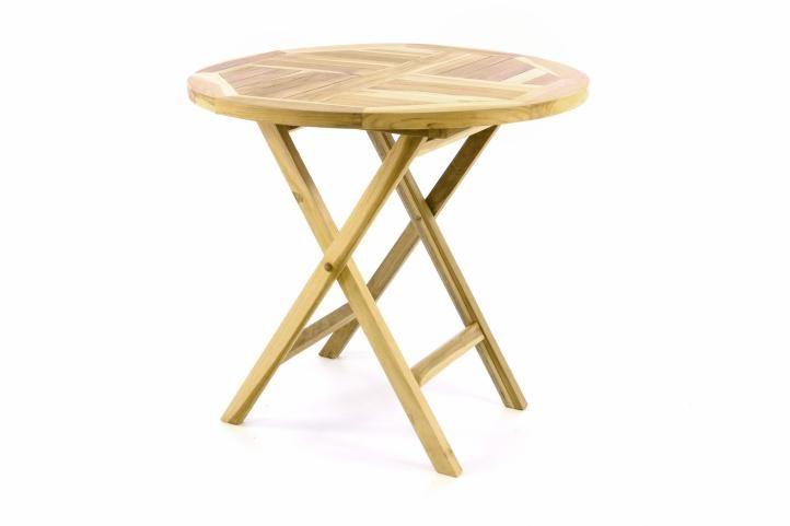 Zahradní stůl sklopný DIVERO  z teakového dřeva –  Ø 80 cm