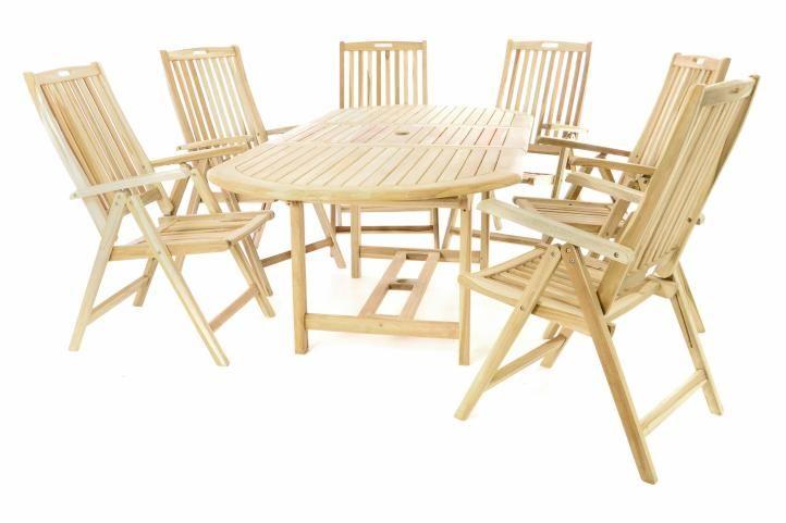 Zahradní dřevěný set z teakového dřeva - 6 židlí, stůl