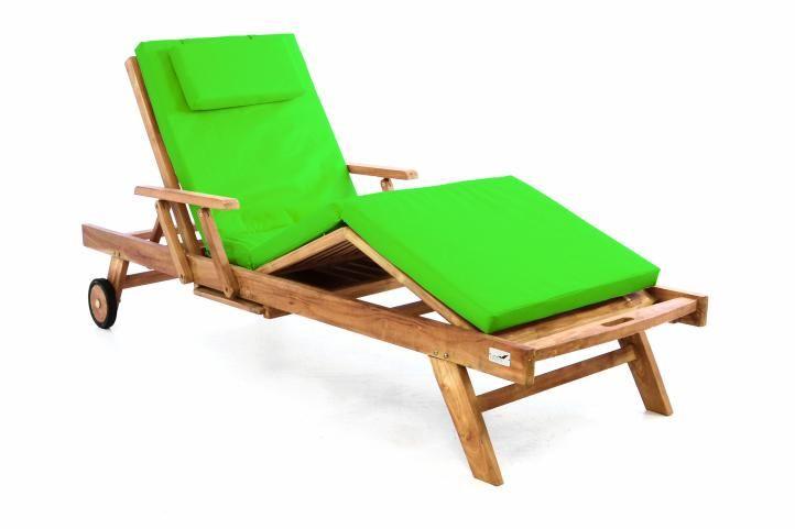 Divero 60464 Zahradní dřevěné lehátko z teakového dřeva s podložkou - světle zelená