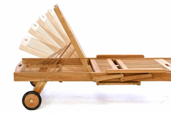 Zahradní  dřevěné lehátko DIVERO z  teakového dřeva s podložkou – antracit