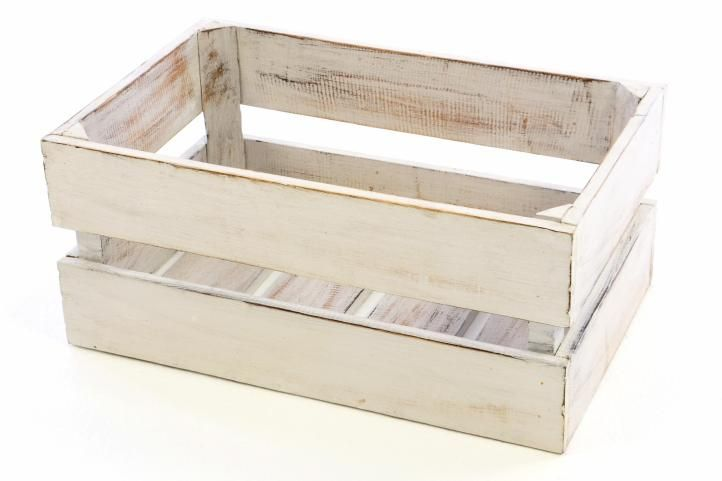 DIVERO Vintage bedna, bílá, 47 cm x 29,5 cm