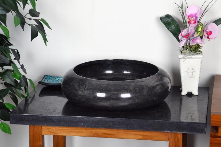 DIVERO umyvadlo z přírodního kamene Black